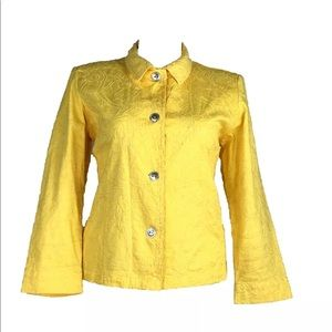 Chicos 3 XL Jacket Sunny Yellow Embroider Button